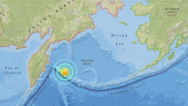 The quake struck in the northern Pacific Ocean between the tip of the Aleutian Islands and Russia's Kamchatka Peninsula.