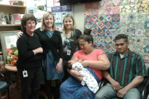 Staff at Wairau Hospital's Maternity Unit, from left, Gwen Costello, Jackie Martin and Debbie Fisher with proud parents ...