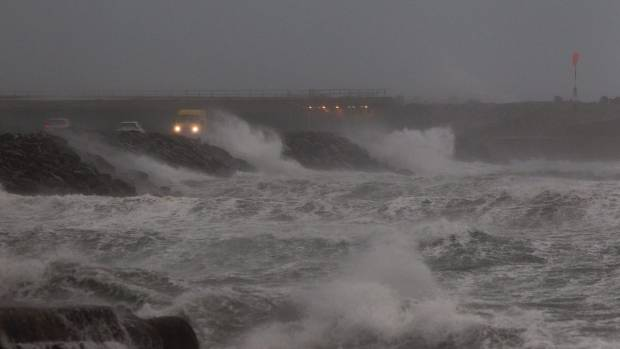 Storm-force winds like this one that battered Lyall Bay with swells up to 10 metres high are predicted to become more ...