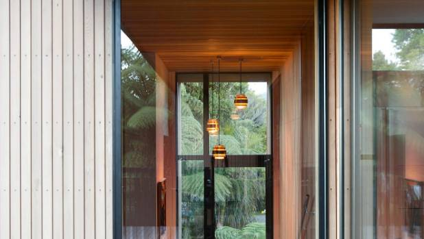 Looking into the house and back through the front door; these mid-century pendants are probably Steve's favourites.