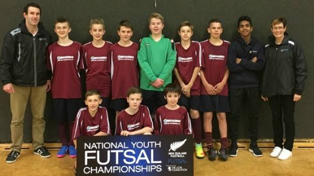 The Southland under-14 futsal team at the NZ Futsal Championships in Palmerston North.