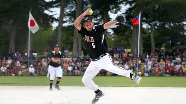 Black Sox pitcher Josh Pettett hurls a fastball in the 2017 Challenge Cup tournament final against Argentina.