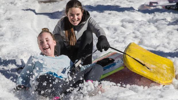 Francis O'Sullivan-Lobb, 14, and Morgan Cryer, 13, were better at coming off than staying on their boogie boards.
