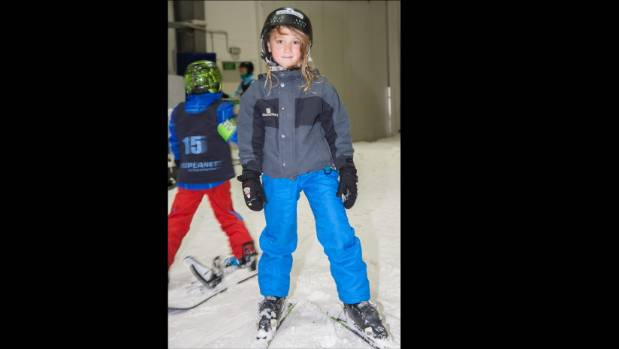 10-year-old Sofia Kovacs gets a taste of skiing at Snowplanet through the Young Stroke Thrivers Foundation.