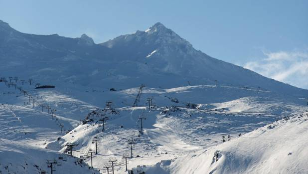 The view from the car park at the top of the Ohakune Mountain Road on a bluebird day, with all lifts operating.