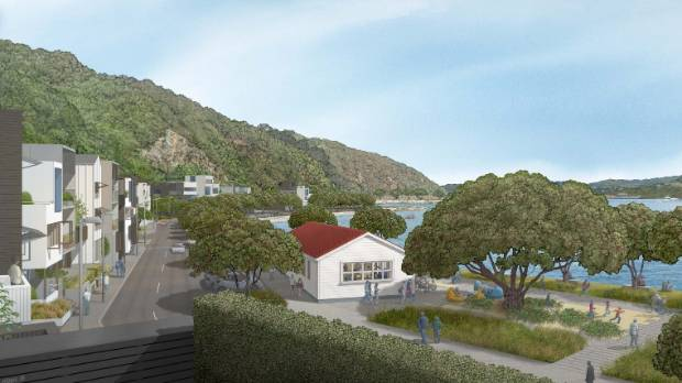 The proposed Shelly Bay development with a view towards the village green.