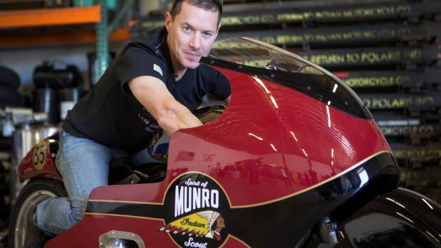 Burt Munro's great nephew Lee Munro with the 2017 Indian Scout motorcycle he plans to ride during Speed Week on the ...