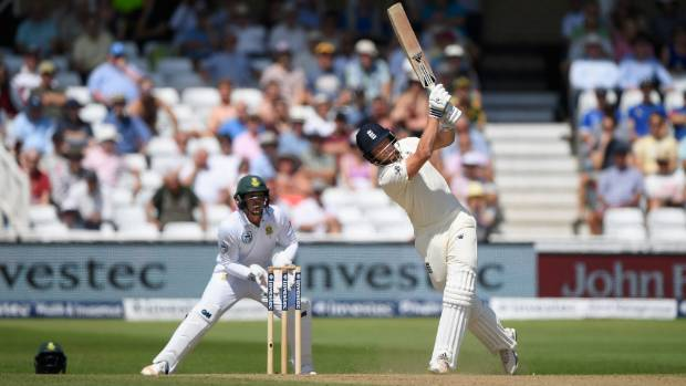 Jonny Bairstow hits out only to be caught out for 16 runs during day four of the second test against South Africa.