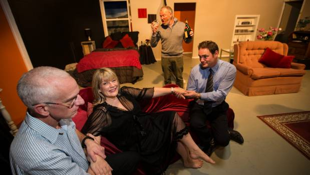 Cast, left to right, Clive Oates, Nicci Smith, Jarrod Campbell, Linz Franklin, background, rehearse a scene from Key for Two.