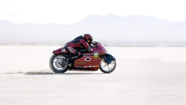 Lee Munro, great-nephew of legend Burt Munro, sets a record while testing at a land speed meeting at El Mirage, a dry ...