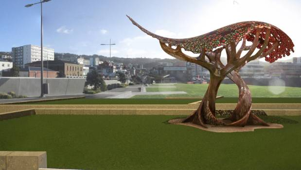 The memorial design takes the form of two of the UK and New Zealand's most iconic trees, the royal oak and a pohutukawa. ...