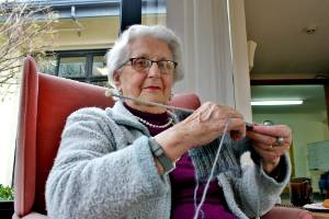 Avid knitter Beatrice Dunn always has her knitting on hand and recently donated 40 hats to RSE workers.