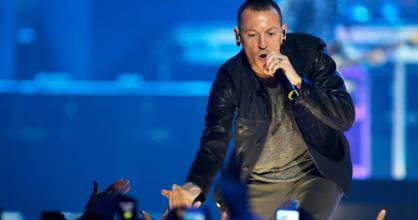 Chester Bennington of the band Linkin Park performs during the second day of the 2012 iHeartRadio Music Festival at the ...