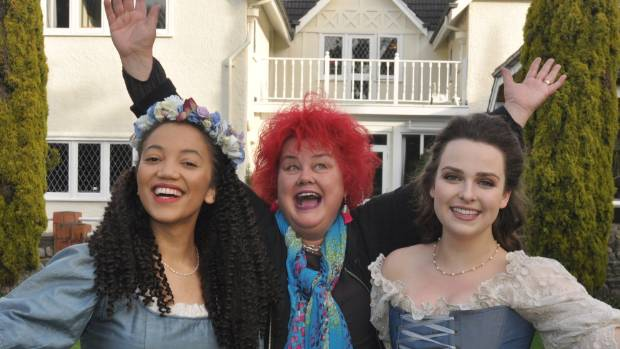 Te Omanga Hospice fund raiser Kirsty Stratford, centre,  with opera singers Emily Mwila and Pasquale Orchard, who play ...