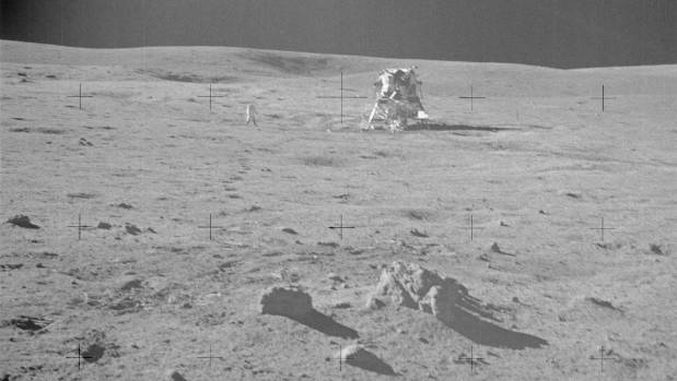 A picture from the Apollo 14 mission, in which the shadows are not parallel. Conspiracy theorists say that would need ...
