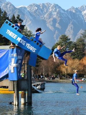 Yes, we're all aware of the irony. Todd Barclay and crew in the Birdman competition during the 40th Queenstown Winter ...