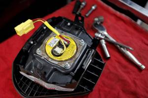 A recalled Takata airbag inflator. The faulty parts have been linked to at least 18 deaths worldwide.