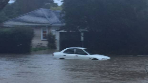 Christchurch's Heathcote River was in flood on Saturday morning.