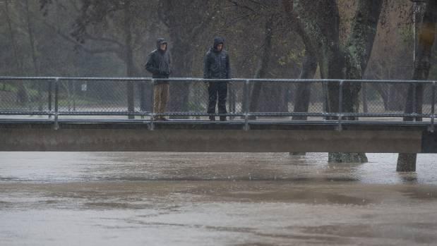 The Heathcote River flooding near Sloane Tce.