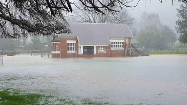 Flooding hits the showgrounds at Little River.