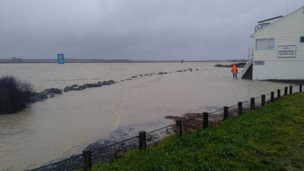 The Waimakariri River swells near Kairaki Beach during high tide on Saturday afternoon.