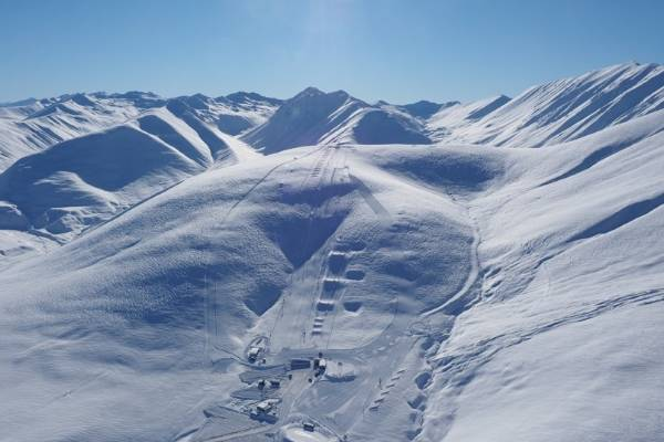 An aerial view of Roundhill Ski Area, near Tekapo, on Sunday morning. The ski area is reporting receiving 1.5m of snow ...