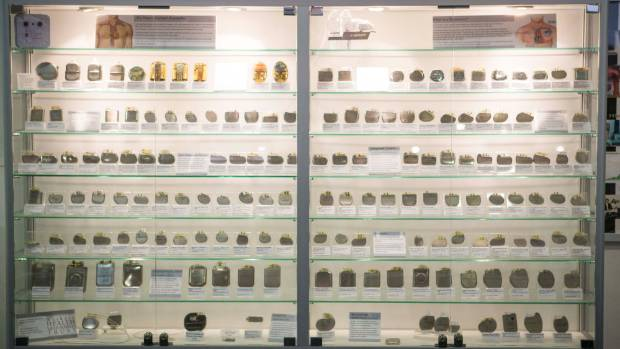 A collection of pacemakers on display at Waikato Hospital.