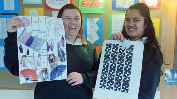 Wainuiomata High School students Claudia Groeneweg, left,  17, and Memories Lemaota, 17, show off the inspirations for ...