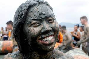 The mud is believed to have beneficial effects on the skin due to its mineral content.