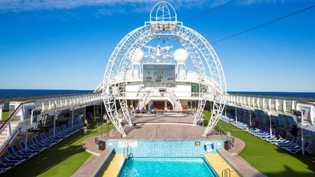 The top deck of the Pacific Jewel is kitted out for zip-lining and climbing.
