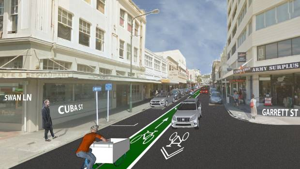 "Off the table: a proposed ""contraflow"" bike lane on Wellington's Cuba St would have let people ride both ways along part ..."