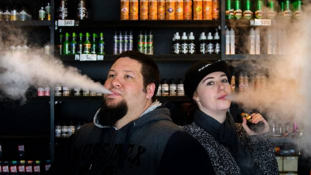 Jason Seath and Jessica Byron of Hawke's Bay Vapour demonstrate vaping. Seath says people are turning to it to quit smoking.