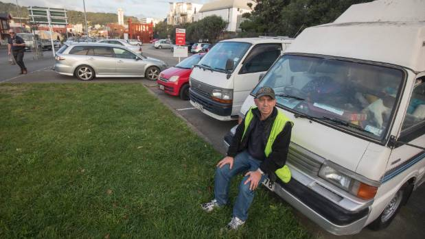 Shane Leach has been parking his motorhome in the free car park since November, but has been ticketed twice by Wilson ...