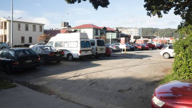 The five marked car parks in a small piece of land beside Karo Dr, in central Wellington, where users can park for free.