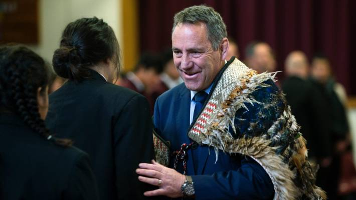 New Queen Elizabeth College principal Chris Moller was welcomed with a powhiri on Monday. He wore the school's korowai (cloak), made in 1970 for then-principal Trevor Worthington, who initiated the bi-lingual unit.