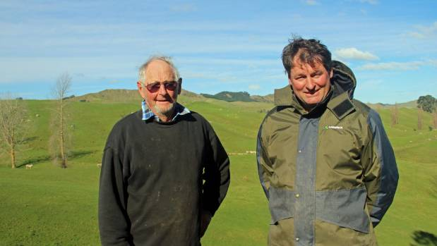 Poll dorset stud breeder Rick Lee and his father Charlie Lee on the farm at Elsthorpe.