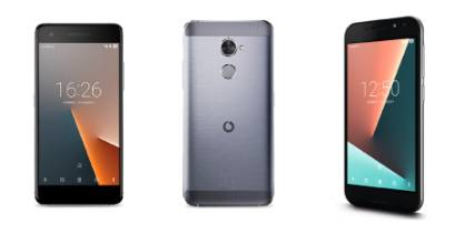 The Vodafone Smart V8 (left and centre) costs $349 while the Smart N8 costs $199.