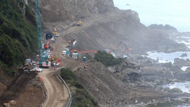 A cycleway will run along the edge of this damaged stretch of SH1, just south of Ohau Point, as part of $231 million of ...