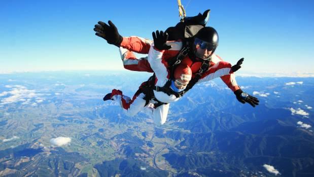 Skydiving over Motueka.