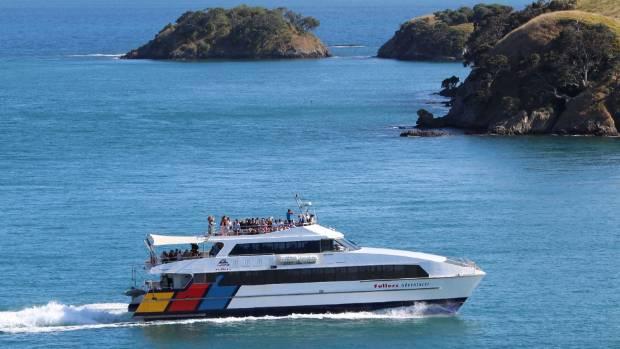A ferry enters Matiatia Harbour on Waiheke Island.