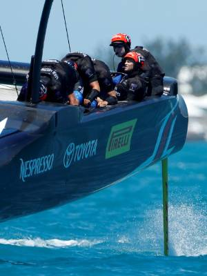 Helmsman Peter Burling drives Emirates Team New Zealand to a win over Oracle Team USA.