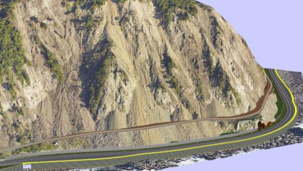 An artist's impression of the Main North Line, State Highway 1 and the combined cycleway and walkway, in yellow, around ...