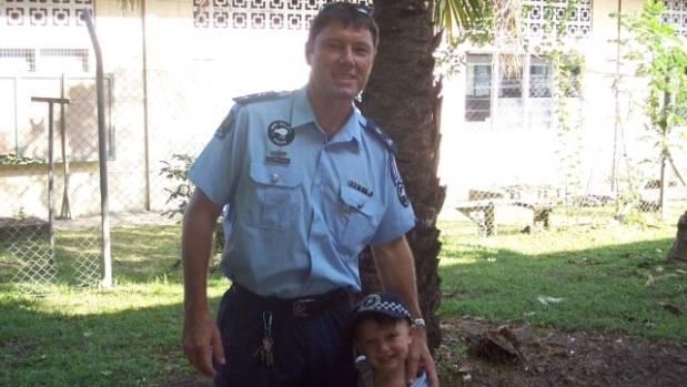 Terry van Dillen with his son, Luca, 4, in the Solomon Islands in 2006.