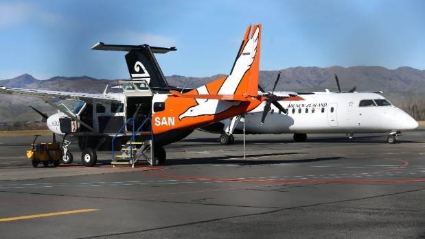 A Sounds Air 12-seat Cessna Caravan waits on the tarmac at Marlborough Airport.