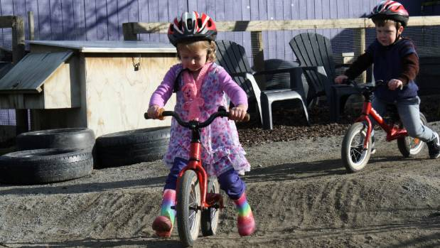 It didn't take Ella Pederson, 4, long to hit the track.