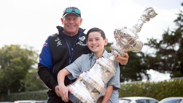 Team New Zealand boss Grant Dalton with year eight student Daniel Over, 14.