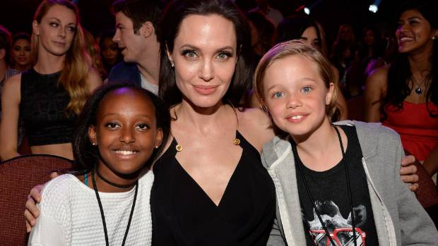 Angelina Jolie with two of her children Zahara Marley Jolie Pitt and Shiloh Nouvel Jolie-Pitt