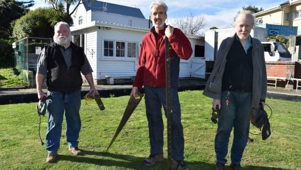 Menzshed Wellington coordinator Ross Buckley (left) with 'sheddie' Colin Malthouse and Menzshed volunteer Alan outside ...
