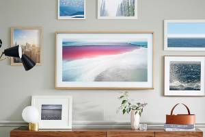 "In ""art mode"", the Frame displays pictures from a range of 100 pieces of digital art or your own images."