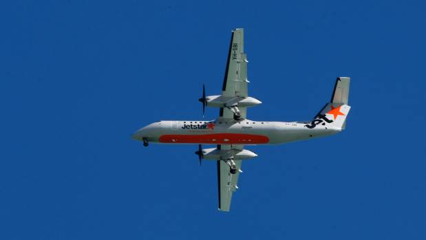A Jetstar plane coming into land at Nelson Airport.